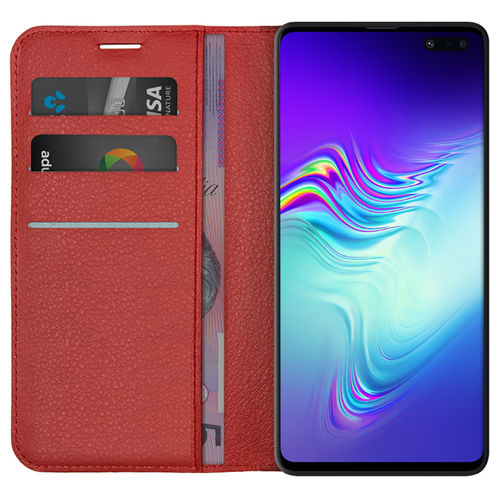 Leather Wallet Case & Card Holder for Samsung Galaxy S10 5G - Red
